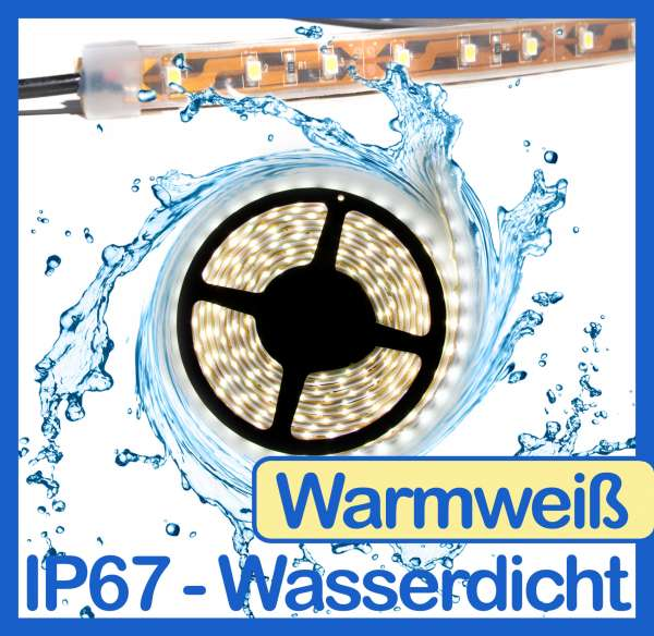 5m Wasserdicht SMD 2016 LED Strips warmweiß (2700K) 12V Strip 4,8W/m Flexband IP67
