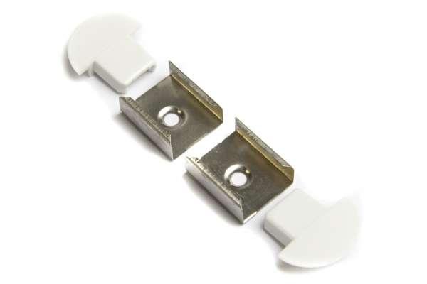 Zubehör-Set für 1m LED Alu-Einbauprofil flach 22x7mm für LED-Strips mit 2 Endkappen und 2 Halterungen