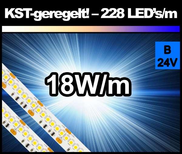 1m Superhell BLAU KST 18W/m 24V LED Strips SMD 3528 Strip HP Konstantstrom