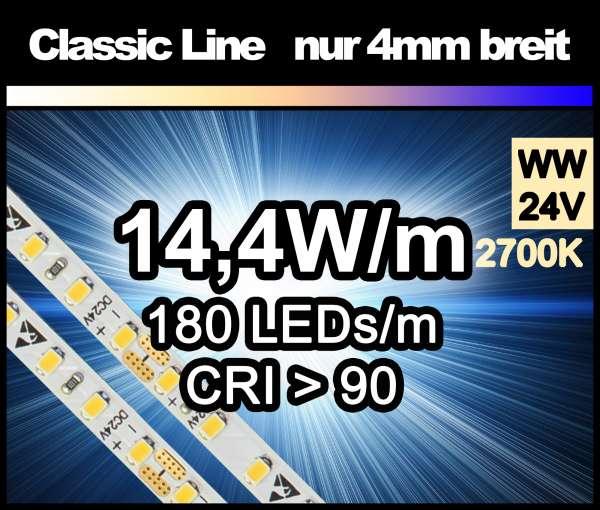 5m LED-Strip SMD 2016 CL nur 4mm breit, 180 LEDs/m, 1050 lm/m bei 14,4W/m 24V warmweiß (2700K) CRI>90, LED Streifen
