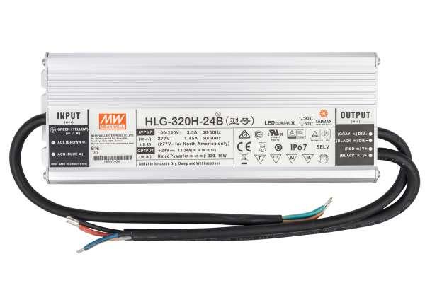 Mean Well HLG-320H-24B, dimmbares Netzteil 230V auf DC 24V/320W speziell für LED-Beleuchtung, Trafo für Strips