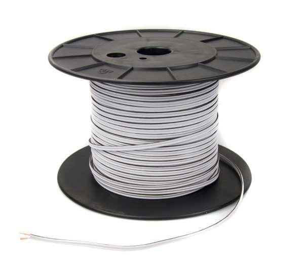 Zwillingslitze 2x 0,75 qmm, weiß, 2-adriges Kabel, flexibles Litzenkabel