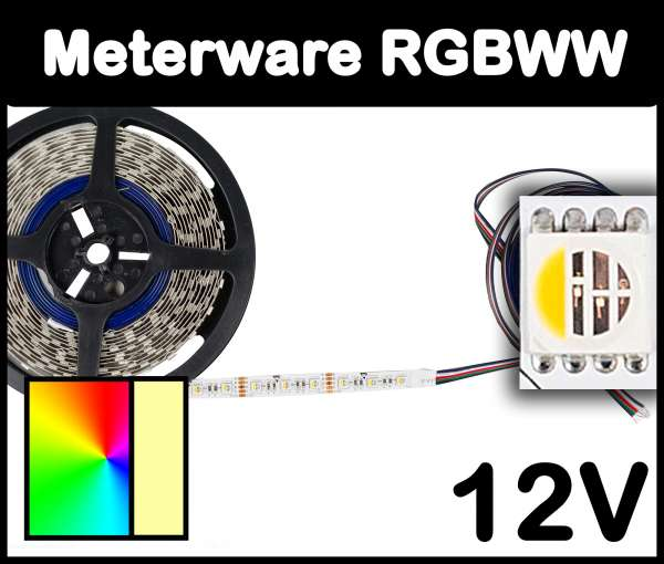 1m RGBWW 5050 ALL-in-one LED Strip 12V mehrfarbig und warmweiß 19,2W/m Strips Flexband, Meterware!