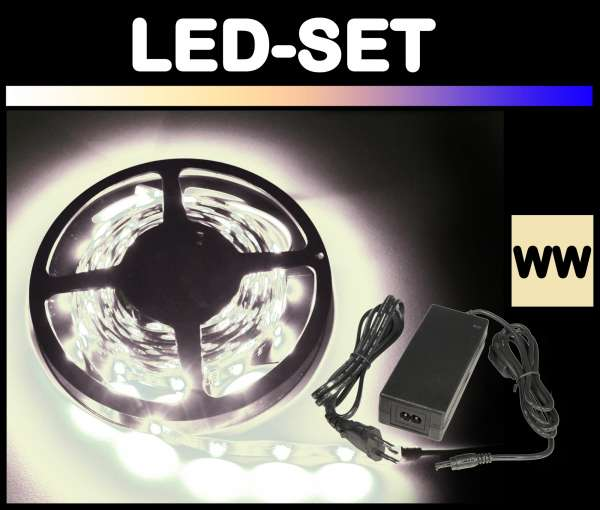 5m 3528 LED Strips Set Warmweiß mit Netzteil Strip Flexband