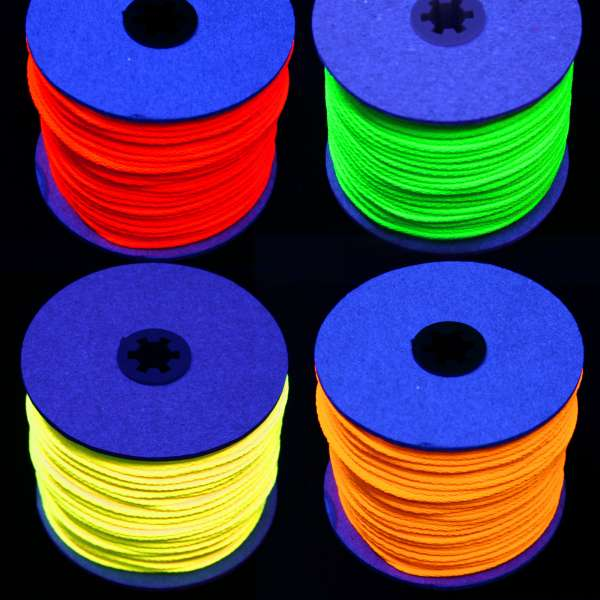 100m UV-Leuchtschnur 5mm UV-Schnur Neon-Kordel für Schwarzlicht in Rot, Grün, Gelb, Orange