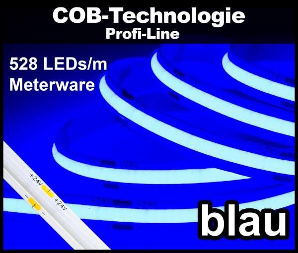 1m COB LED Strip PL 528 NEON-like 24V, BLAU, 160 lm/m bei 14W/m, einfarbiger LED Streifen Flexband IP20
