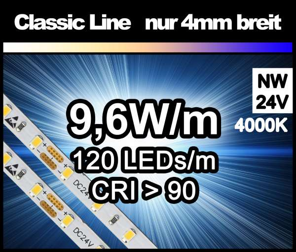 5m LED-Strip SMD 2016 CL nur 4mm breit, 120 LEDs/m, 760 lm/m bei 9,6W/m 24V neutralweiß (4000K) CRI>90, LED Streifen