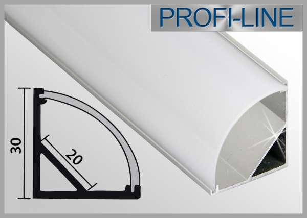 LED Alu-Profil 2m Aluprofil / LED-Profil GROSS Eckprofil LAP-02 für LED-Strips inkl. runder Abdeckung