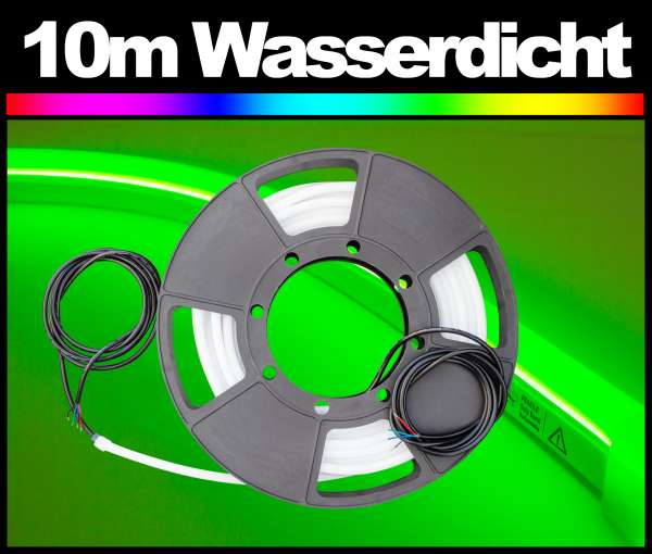 10m Outdoor IP67 LED Strip PL NEON-like RGB, 24V, 10W/m Flexband im Silikonschlauch, wasserfest