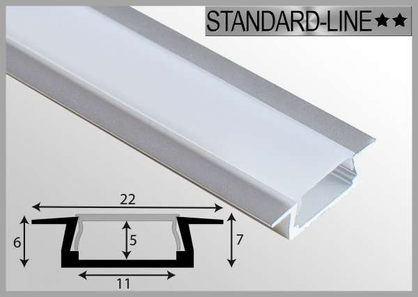 LED Alu-Profil 1m Aluprofil / LED-Profil Einbau 22 x 7mm für LED-Strips inkl. Abdeckung Frost