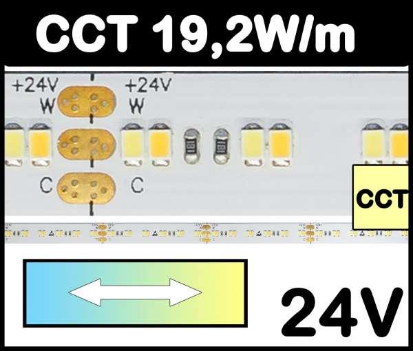 1m CCT Strip SMD 2216-1Step 19,2W/m 24V LED Streifen regelbar von kaltweiß bis warmweiß 2700-6000K, CRI>90