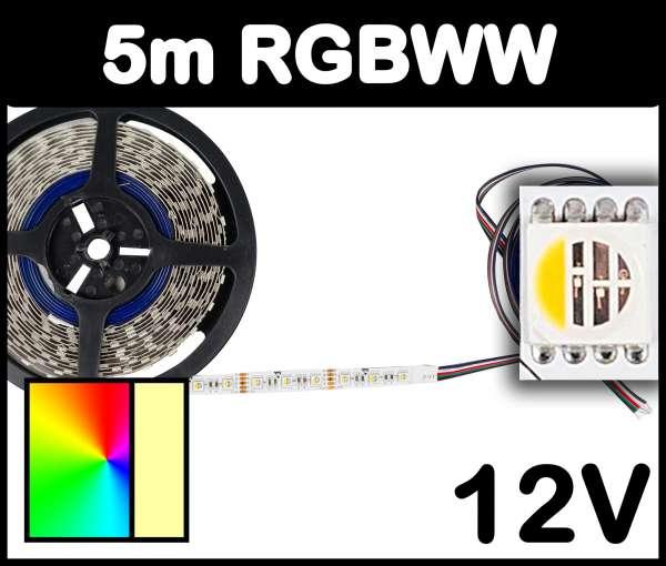5m Rolle RGBWW 5050 ALL-in-one LED Strip 12V mehrfarbig und warmweiß 19,2W/m Strips Flexband