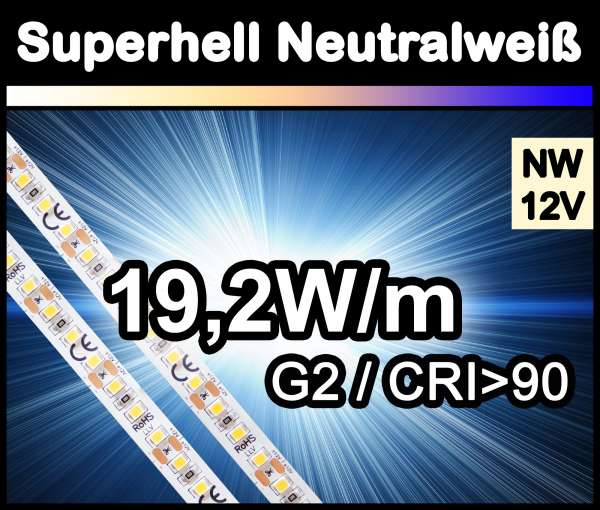1m Superhell G2 mit 1750 lm/m bei 19,2W/m 12V LED Strips neutralweiß SMD 2835 Strip HP Superbright