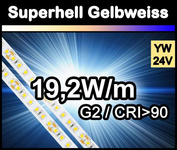 1m Superhell G2 mit 1550 lm/m bei 19,2W/m 24V LED Strips gelbweiß SMD 2835 Strip HP Superbright