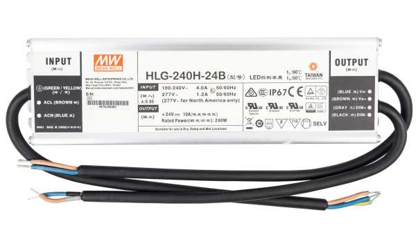 Mean Well HLG-240H-24B, dimmbares Netzteil 230V auf DC 24V/240W speziell für LED-Beleuchtung, Trafo für Strips