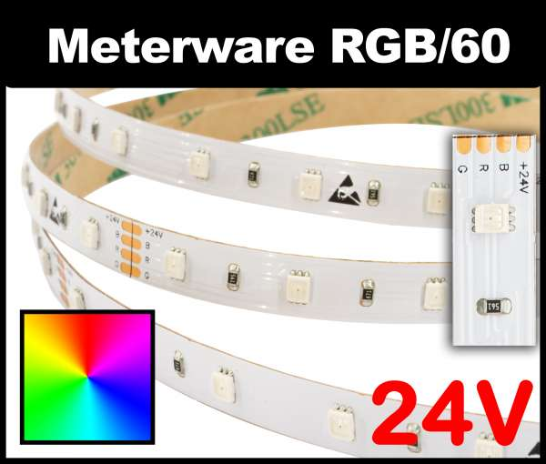 1m RGB LED-Strip SMD 2835 PL nur 8mm breit, 60 LEDs/m, 8,5W/m, 24V mehrfarbiger LED Streifen, Meterware!