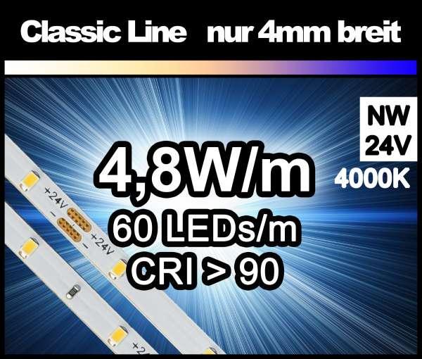 5m LED-Strip SMD 2016 CL nur 4mm breit, 60 LEDs/m, 380 lm/m bei 4,8W/m 24V neutralweiß (4000K) CRI>90, LED Streifen