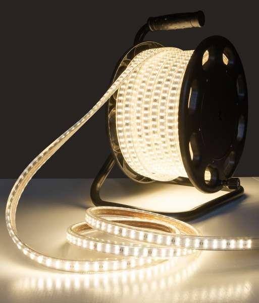 25m Outdoor LED Strip SMD 2835 auf Trommel, warmweiß 3000K, 180 LEDs/m, IP65, 230V AC, 11W/m
