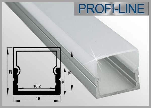 LED Alu-Profil 2m Aluprofil / LED-Profil Aufbau hoch LAP-81 für LED-Strips inkl. eckiger Abdeckung Frost