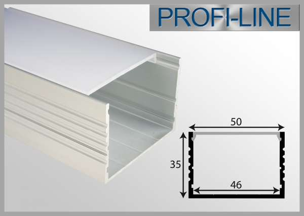 LED Alu-Profil 2m Aluprofil / LED Leuchtengehäuse LEP-5035 inkl. Abdeckung Frost für LED-Strips