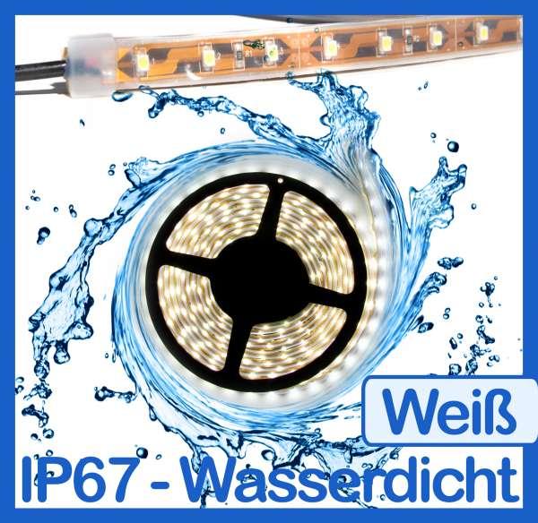 10m Wasserdicht SMD 3528 LED Strip kaltweiß (6000K) 24V Strips 4,8W/m Flexband IP67