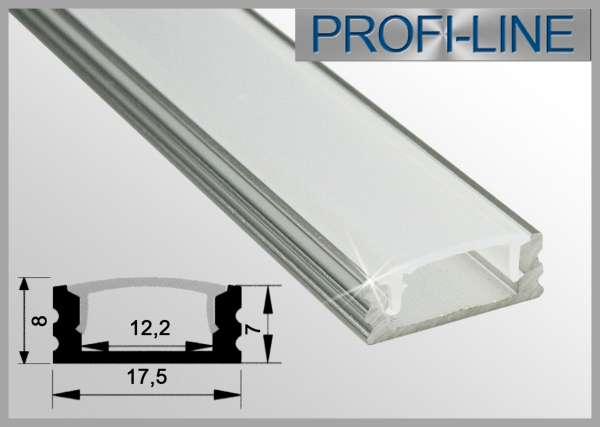 10 cm MUSTER LED Alu-Profil 2m Aluprofil / LED-Profil Aufbauvariante flach LAP-11 für LED-Strips inkl. Abdeckung