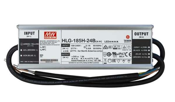 Mean Well HLG-185H-24B, dimmbares Netzteil 230V auf DC 24V/187W speziell für LED-Beleuchtung, Trafo für Strips