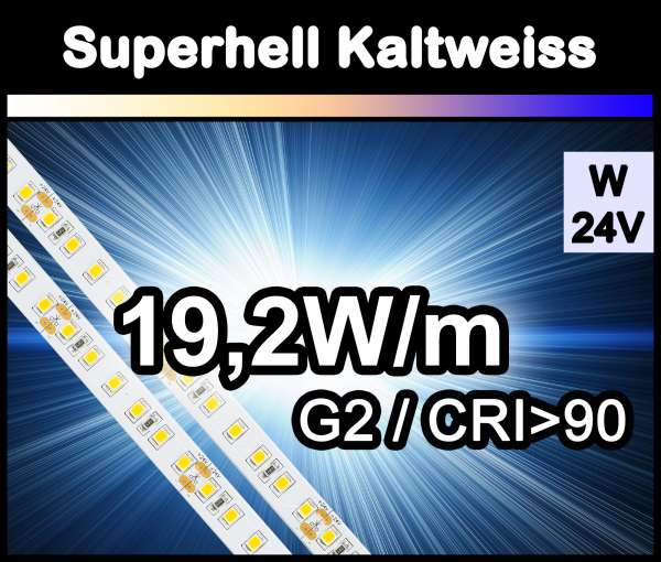 1m Superhell G2 mit 1800 lm/m bei 19,2W/m 24V LED Strips weiß SMD 2835 Strip HP Superbright