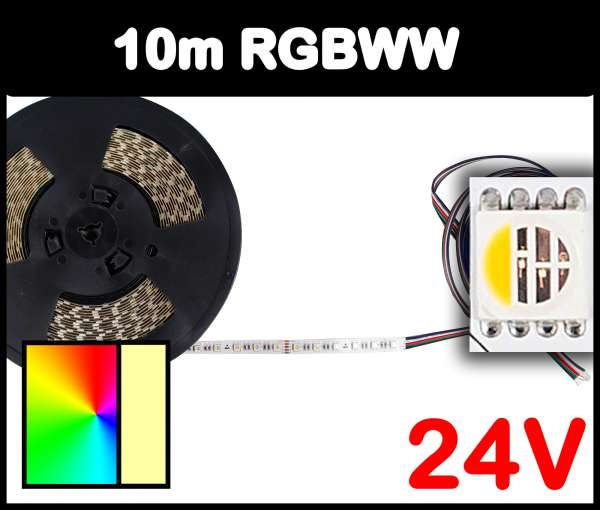 10m Rolle RGBWW 5050 ALL-in-one LED Strip 24V mehrfarbig und warmweiß 19,2W/m Strips Flexband