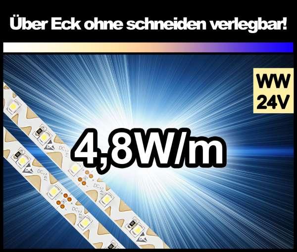 1m Zig-Zag 3528 LED Strip mit 350 lm/m bei 4,8W/m warmweiß 24V Strips Flexband Zick-Zack