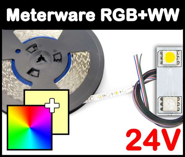 1m RGB+WW 5050 LED Strip 24V mehrfarbig + warmweiß 14,4W/m Strips Flexband Leiste, Meterware!