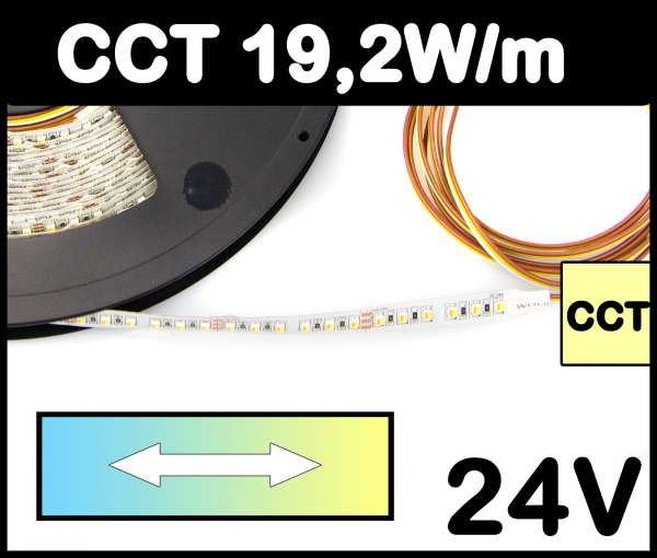 1m CCT Strip 19,2W/m 24V LED Strips regelbar von kaltweiß bis warmweiß SMD 3528 Strip 2500-6000K