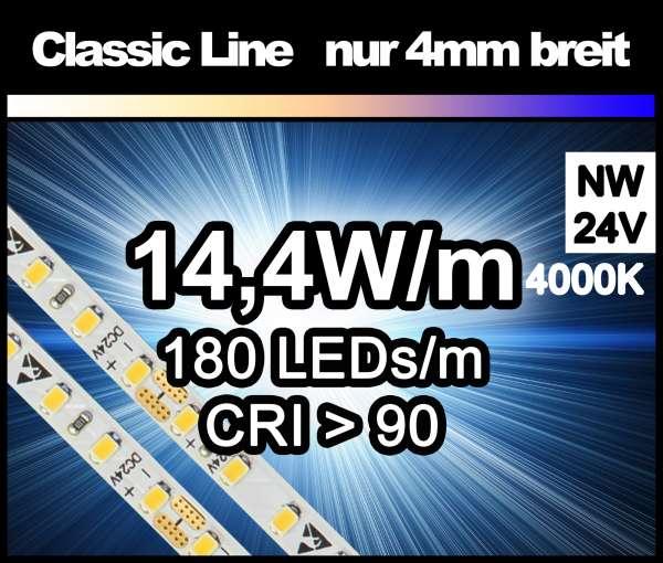 5m LED-Strip SMD 2016 CL nur 4mm breit, 180 LEDs/m, 1140 lm/m bei 14,4W/m 24V neutralweiß (4000K) CRI>90, LED Streifen