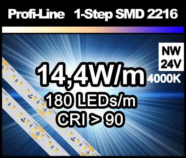 1m LED-Strip SMD 2216 PL 180 LEDs/m, 1150 lm/m bei 14,4W/m 24V neutralweiß (4000K/1-Step) CRI>90, LED Streifen