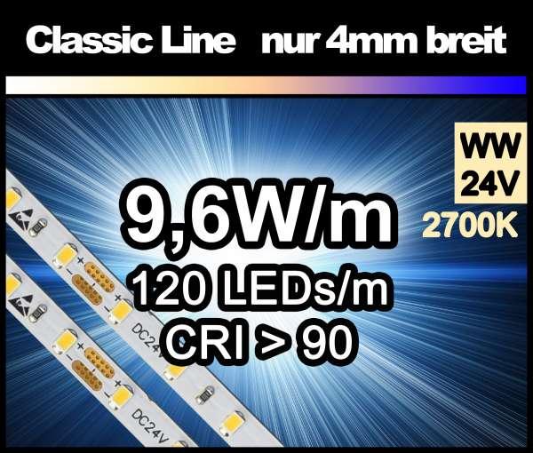 5m LED-Strip SMD 2016 CL nur 4mm breit, 120 LEDs/m, 700 lm/m bei 9,6W/m 24V warmweiß (2700K) CRI>90, LED Streifen