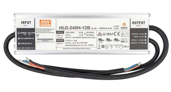 Mean Well HLG-240H-12B, dimmbares Netzteil 230V auf DC 12V/192W speziell für LED-Beleuchtung, Trafo für Strips