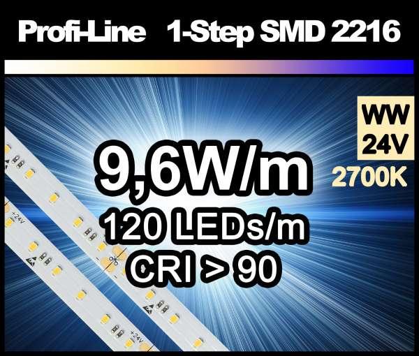 1m LED-Strip SMD 2216 PL 120 LEDs/m, 690 lm/m bei 9,6W/m 24V warmweiß (2700K/1-Step) CRI>90, LED Streifen