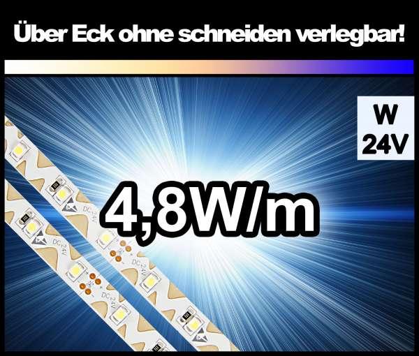 1m Zig-Zag 3528 LED Strip mit 400 lm/m bei 4,8W/m weiß 24V Strips Flexband Zick-Zack