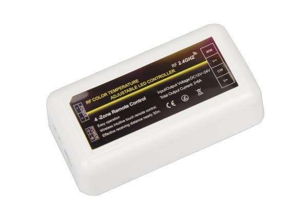 2-Kanal CCT / 4-Zonen Funk-Empfänger DC 12/24V, 2x 6A, 2,4 GHz für Funk-Fernbedienung (107768)