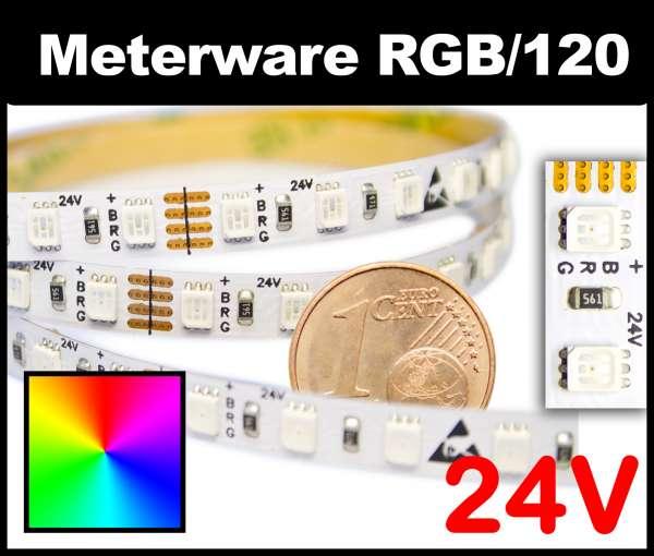 1m RGB LED-Strip SMD 2835 PL nur 6mm breit, 120 LEDs/m, 17W/m, 24V mehrfarbiger LED Streifen, Meterware!