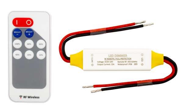 1-Kanal Funk-Mini-Dimmer 12V-24V / 15A für LED-Strips Steuergerät Stripes, offene Kabelenden