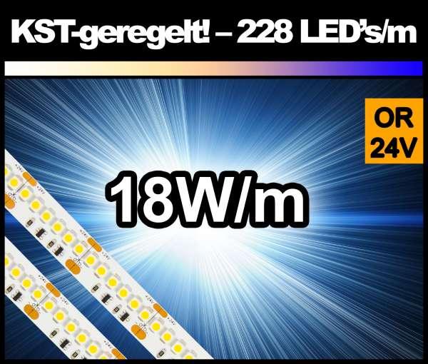 5m Superhell AMBER (dunkelorange) KST 18W/m 24V LED Strip SMD 3528 Strip HP Konstantstrom