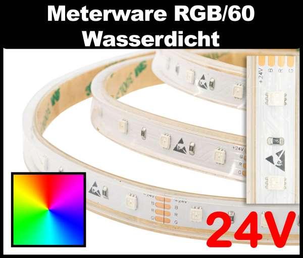 10m Outdoor RGB LED-Strip IP67 SMD 2835 PL nur 10,8 mm breit, 60 LEDs/m, 8,5W/m, 24V mehrfarbiger LED Streifen