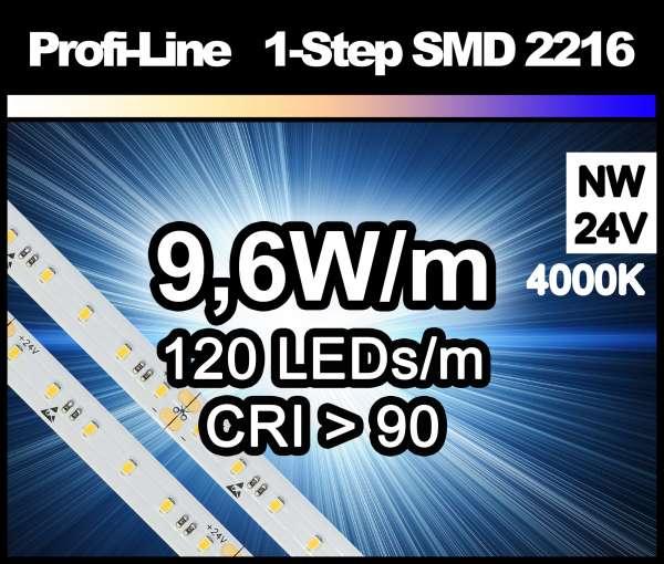 1m LED-Strip SMD 2216 PL 120 LEDs/m, 760 lm/m bei 9,6W/m 24V neutralweiß (4000K/1-Step) CRI>90, LED Streifen