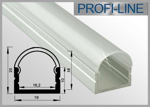 LED Alu-Profil 2m Aluprofil / LED-Profil Aufbau hoch LAP-71 für LED-Strips inkl. runder Abdeckung Frost
