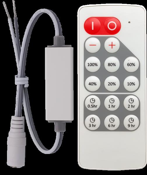 1-Kanal Funk-Dimmer 12V-5A / 24V-4A für LED-Strips / Stripes mit Dimm-Presets und Timer-Aus-Funktion, DC-Steckverbindungen