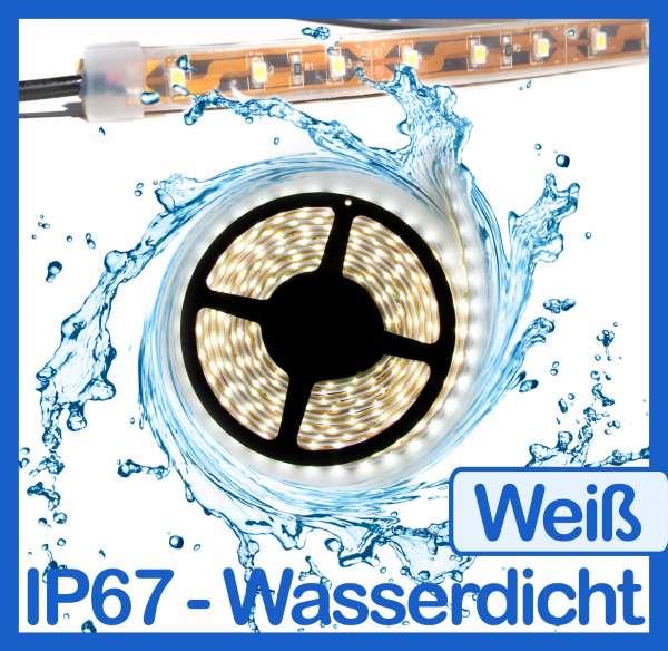 5m Wasserdicht 3528 LED Strips weiß 12V Strip Flexband IP67