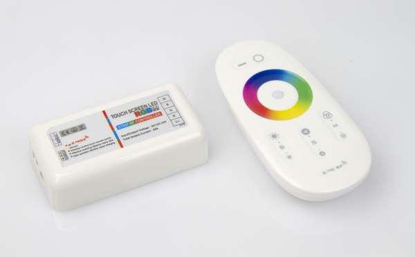 Funk-RGBW-Steuergerät mit Fernbedienung für 12V und 24V RGBW LED-Strips 4x6A