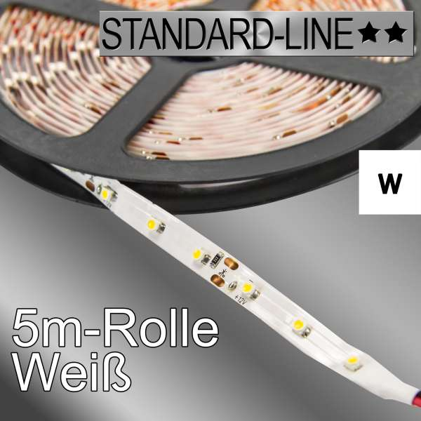 5m SL-3528 LED-Strip weiß 12V mit 4,8W/m Stripes Flexband SL-3528/60w