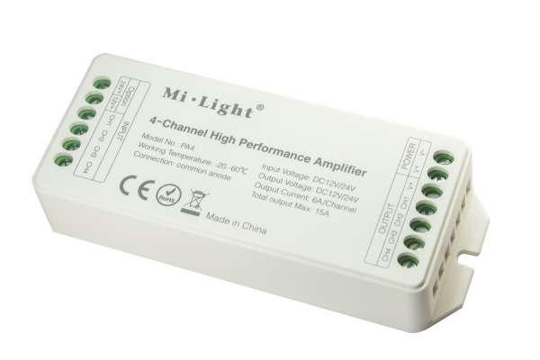 4-Kanal Verstärker für 12V/24V RGBW oder 2x CCT LED-Strips Amplifier 4x6A Repeater, Aufholverstärker